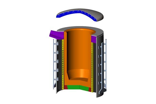 refractarios fundiciones hierro hornos inducción